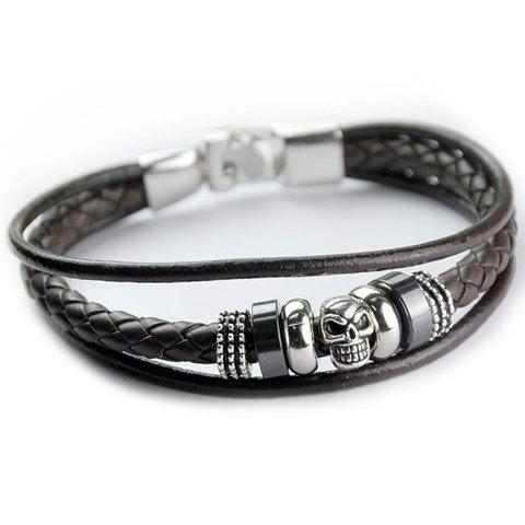 Faux Leather Skull Decorated Multilayered Bracelet - BROWN