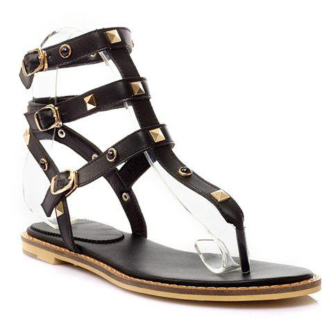 Casual Rivets and T-Strap Design Sandals For Women - BLACK 36