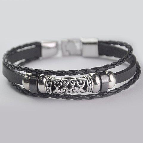 Multi-Layered Faux Leather Bracelet - BLACK
