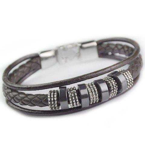 Trendy Faux Leather Circular Decorated Bracelet For Men