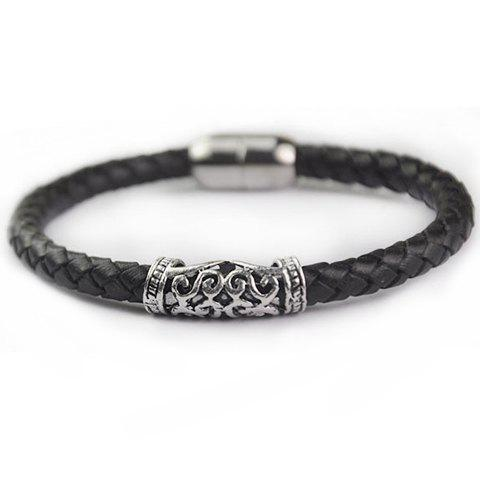 Trendy Faux Leather Carving Multi-Layered Simple Style Bracelet For Men