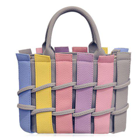 Sweet Color Block and PU Leather Design Tote Bag For Women - LIGHT GRAY