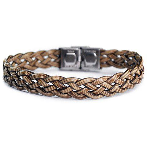 Faux Leather Stainless Steel Knitting Bracelet - BROWN