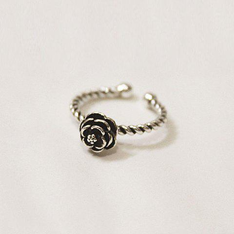 Rose Shape Cuff Ring - SILVER GRAY ONE-SIZE