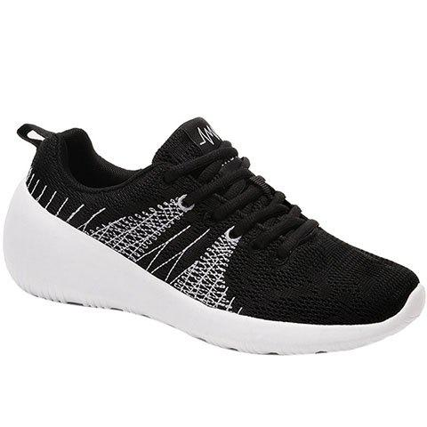 Casual Colour Block and Lace-Up Design Men's Athletic Shoes - BLACK 42