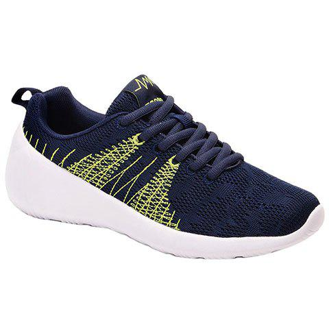 Casual Colour Block and Lace-Up Design Men's Athletic Shoes - DEEP BLUE 44