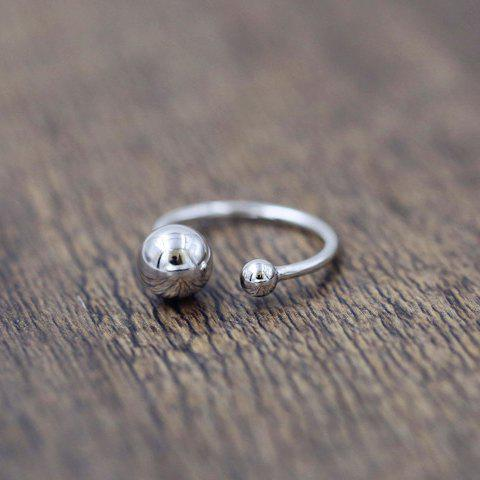 Chic Alloy Round Beads Ring For Women - SILVER ONE-SIZE