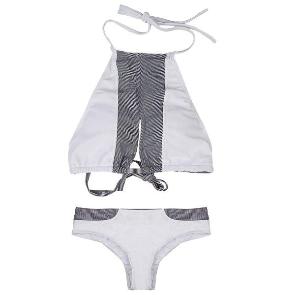 Chic Hollow Out Halter Color Block Lace-Up Women's Bikini Set