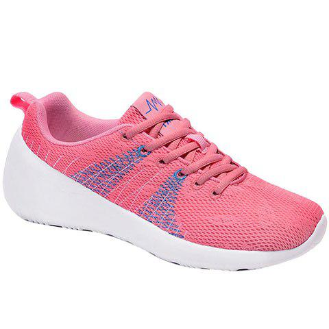 Stylish Lace-Up and Color Matching Design Women's Athletic Shoes - LIGHT PINK 38
