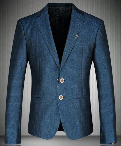 Trendy Turn-Down Collar Colorful Design Cuffs Long Sleeve Men's Blazer