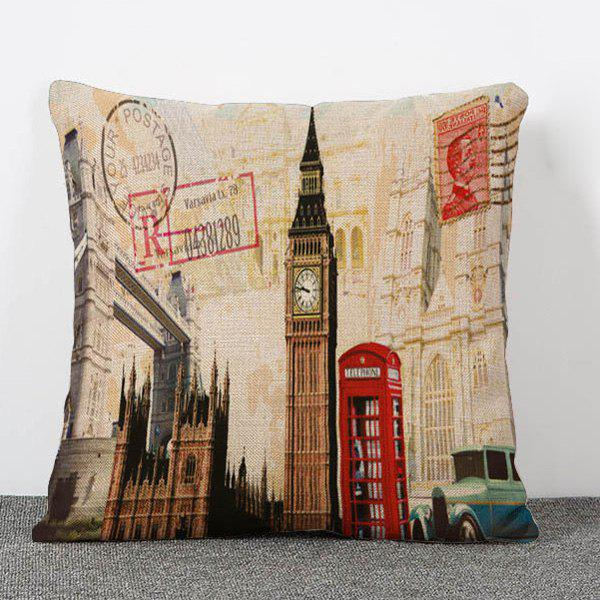 Stylish Britain Building Pattern Flax Pillow Case (Without Pillow Inner) - COLORMIX