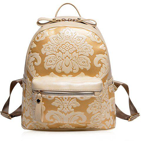 Vintage Style Embossing and PU Leather Design Backpack For Women - OFF WHITE