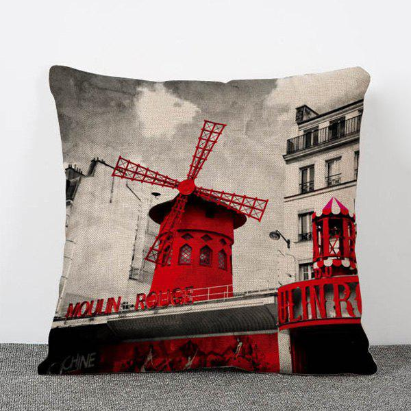 Hot Sale Nostalgia Style Windmill Pattern Flax Pillow Case(Without Pillow Inner) - COLORMIX