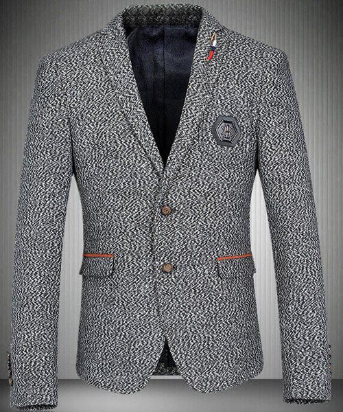 Trendy Turn-Down Collar Elbow Patch Design Long Sleeve Men's Blazer - GRAY M