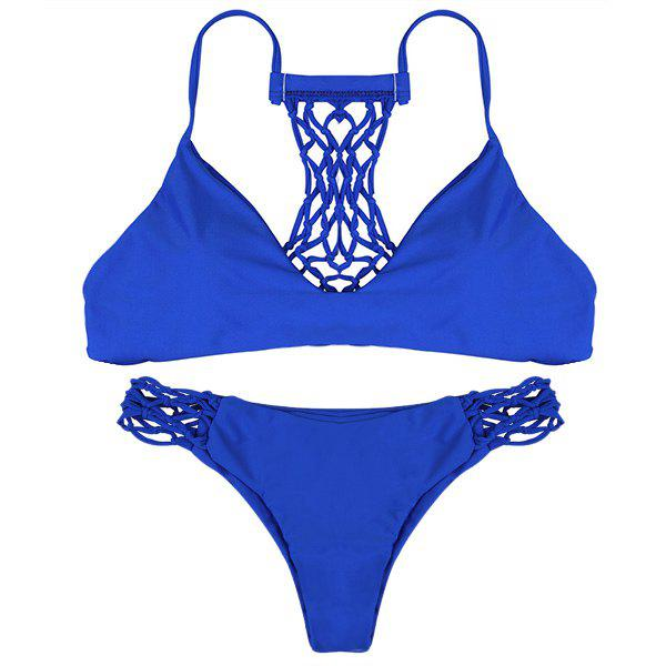 Sexy Spaghetti Strap Solid Color Hollow Out Women's Bikini Set - BLUE S