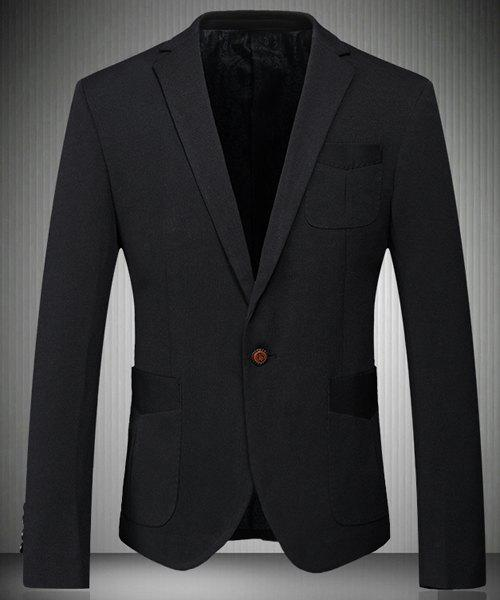 Trendy Turn-Down Collar Solid Color Patch Pockets Long Sleeve Men's Blazer - BLACK M