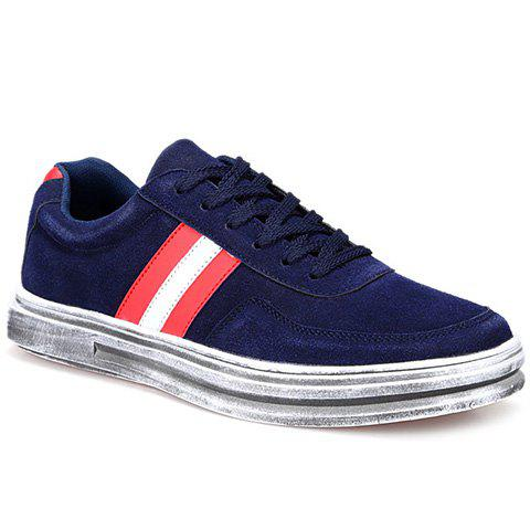 Fashionable Suede and Striped Design Men's Casual Shoes - BLUE 44