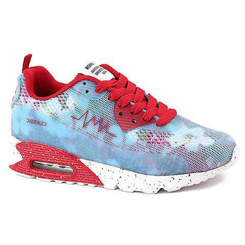 Trendy Colour Matching and Lace-Up Design Women's Athletic Shoes - RED 38