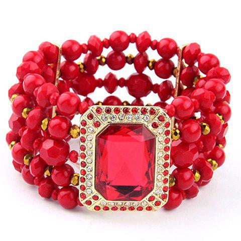 Multilayered Faux Gem Bracelet - RED
