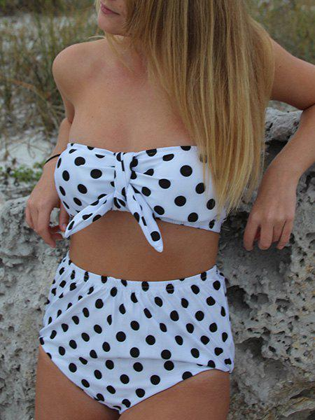 Trendy Style Strapless Polka Dot Print High-Waisted Bikini Set For Women - WHITE/BLACK M