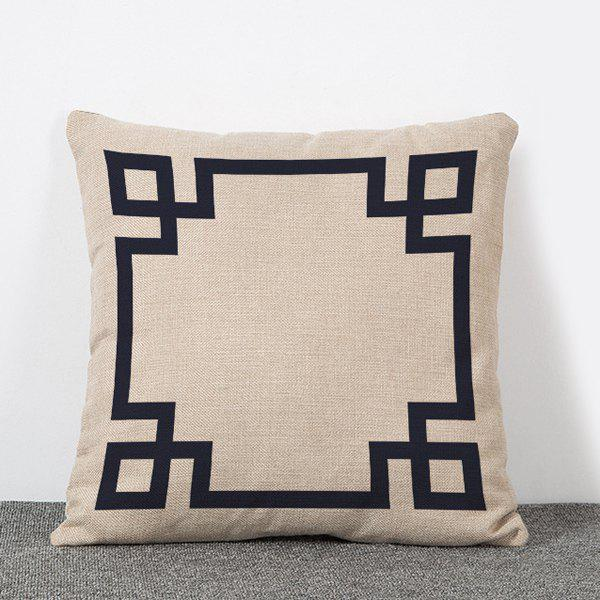 Creative Retro Style Window Frame Pattern Flax Pillow Case(Without Pillow Inner)