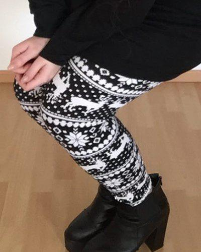 Stylish High Waist Geometrical Print Leggings Christmas For Women - COLORMIX ONE SIZE(FIT SIZE XS TO M)