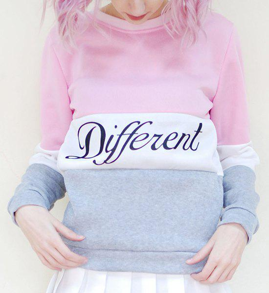 Preppy Style Color Block Round Neck Letter Print Long Sleeve Flocking Sweatshirt For Women - PINK/WHITE ONE SIZE(FIT SIZE XS TO M)
