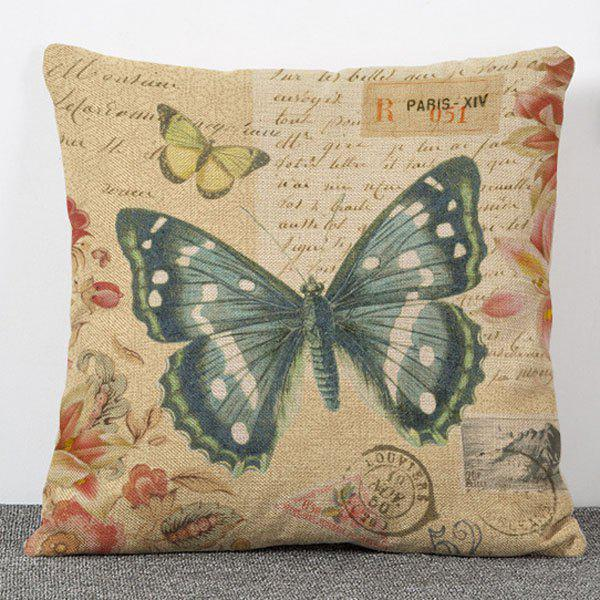 High Quality Butterfly and Letters Pattern Flax Pillow Case(Without Pillow Inner)