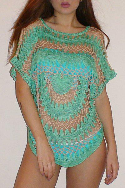 Sexy Jewel Neck Dolman Sleeve Openwork Bikini Cover-Up For Women - GREEN ONE SIZE(FIT SIZE XS TO M)
