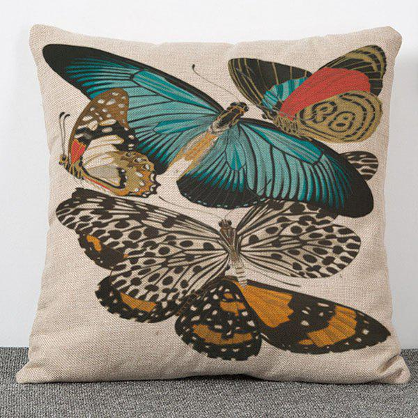 Stylish Much Butterflies Pattern Flax Pillow Case (Without Pillow Inner) - COLORMIX