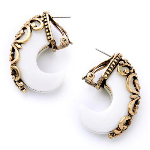 Pair of Gorgeous Moon Shape Earrings For Women - WHITE