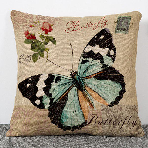Hot Sale Flowers and Butterfly Pattern Flax Pillow Case(Without Pillow Inner) - COLORMIX