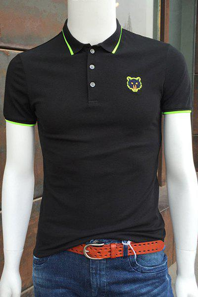 Turn-Down Collar Fluorescence Color Embroidery Short Sleeve Polo T-Shirt For Men - BLACK XL
