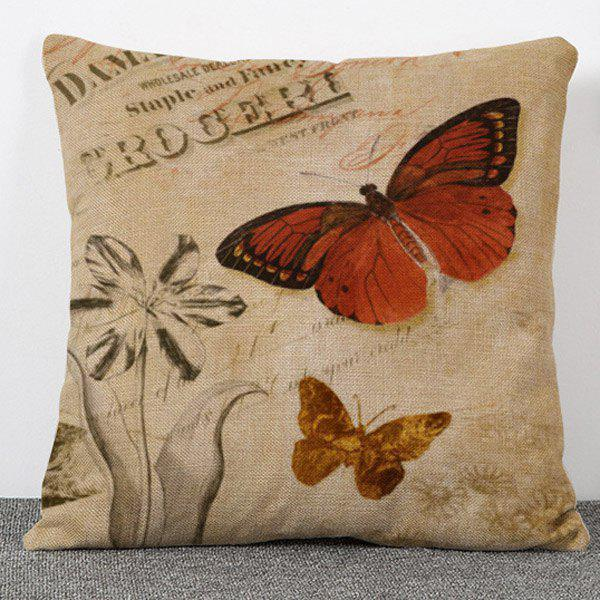 Stylish Printed Butterfly Pattern Flax Pillow Case(Without Pillow Inner) handpainted pineapple and fern printed pillow case