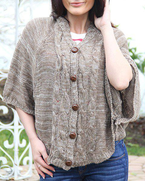 Fashionable Cable Knit Shawl Collar Solid Color Cloak Cardigan For Women - KHAKI ONE-SIZE
