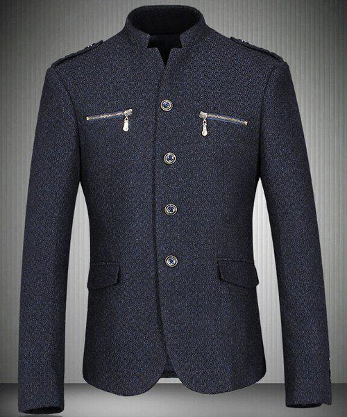 Trendy Stand Collar Zipper Pockets Design Long Sleeve Men's Blazer - CADETBLUE M