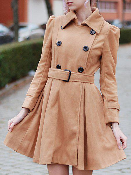 Double Breasted Fit and Flare Wool Coat - KHAKI XL