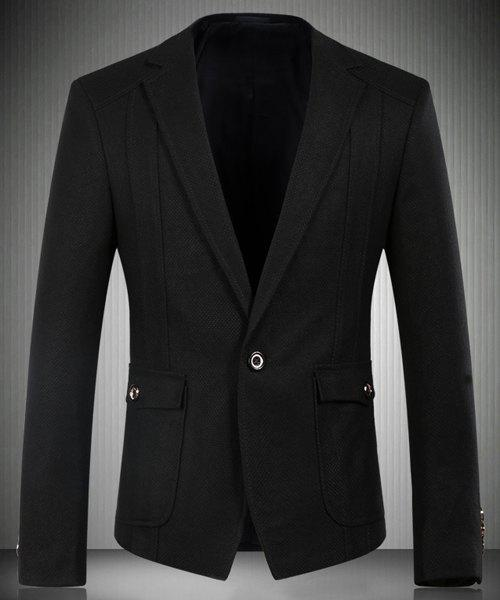 Trendy Turn-Down Collar Flap Patch Pocket Long Sleeve Men's Blazer - BLACK 3XL