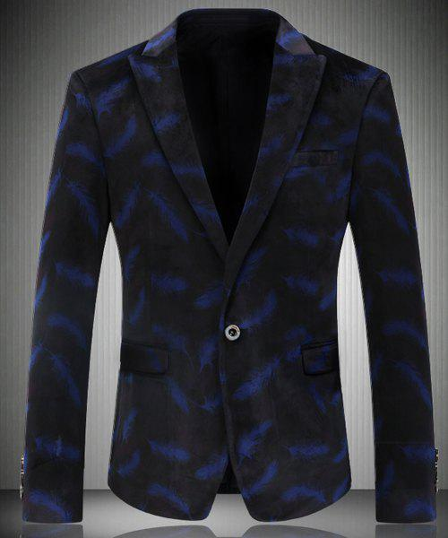 Trendy Turn-Down Collar Feather Pattern Long Sleeve Men's Blazer - BLUE L