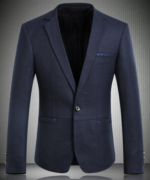 Trendy Turn-Down Collar Back Slit Design Long Sleeve Men's Blazer - BLUE L