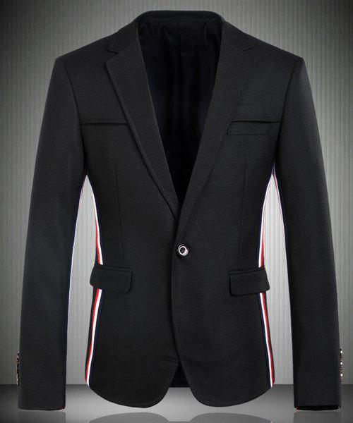 Trendy Turn-Down Collar Color Block Stripes Splicing Long Sleeve Men's Blazer