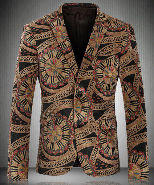 Vintage Turn-Down Collar Special Pattern Printed Long Sleeve Men's Blazer - YELLOW M