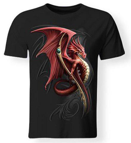 Hot Sale 3D Firedragon Print Round Neck Short Sleeves Men's Black T-Shirt