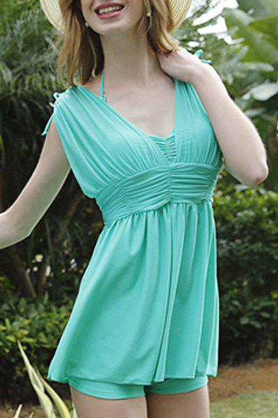 Sexy Halter Pleated Cut Out Pure Color Two-Piece Women's Swimsuit - LAKE GREEN XL