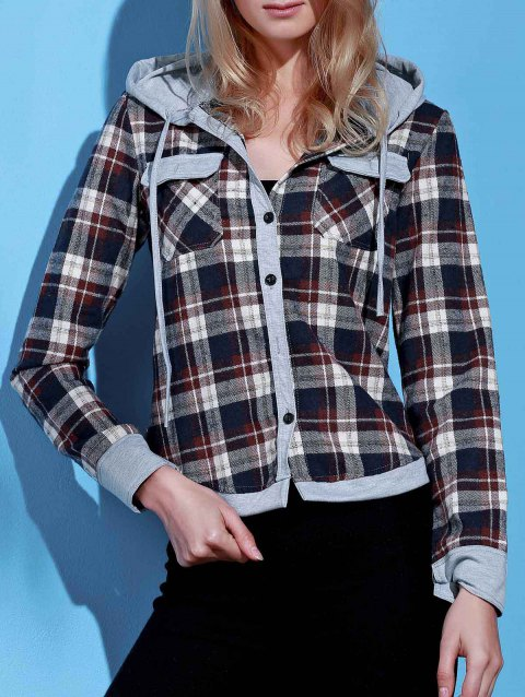 Stylish Hooded Long Sleeve Single-Breasted Gingham Women's Blouse - BROWN L
