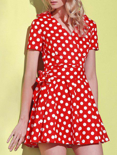 Polka Dot Print V-Neck Short Sleeve Ball Dress - RED XL
