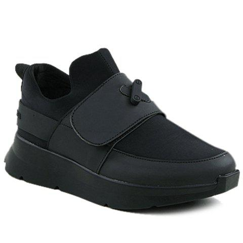 Stylish Black Colour and PU Leather Design Men's Athletic Shoes - BLACK 41