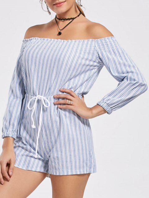 Trendy rayé Off The Shoulder Lace-Up Romper pour les femmes - Rayure S