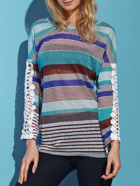 28d0dd8864e Trendy Colorful Striped Lace Spliced Long Sleeve T-Shirt For Women - LAKE  BLUE M
