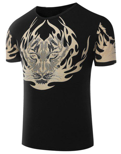 Hot Sale Round Neck Tiger Pattern Print Short Sleeve Men's T-Shirt - BLACK XL